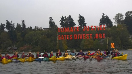Divestment protesters in front of Gates' Home
