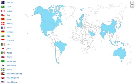 "Map showing the countries participating in ""Mission Innovation."""
