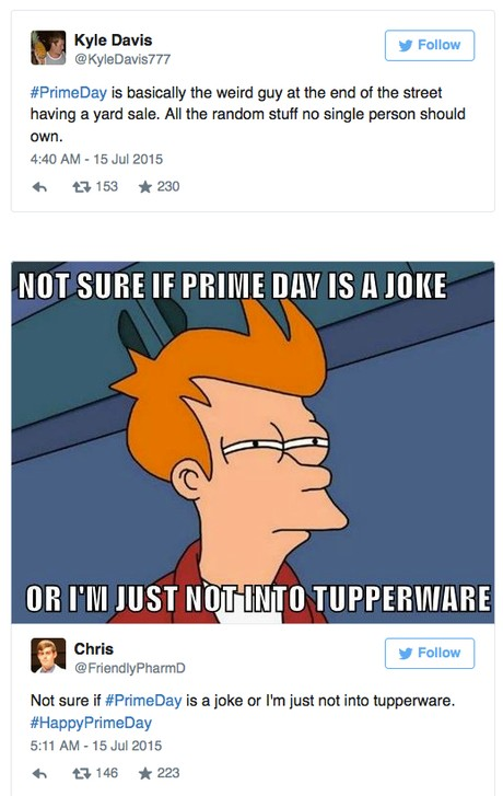 Tweets about Prime Day Deals and Tupperware