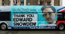Sign Thanking Snowden on a bus