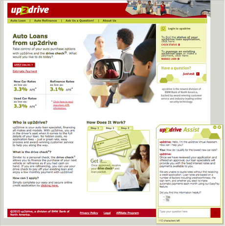 up2drive site with Nuance Nina Web Assistant
