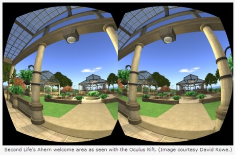 Second Life Ahearn Welcome Area as seen by Oculus Rift